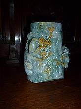 Rare Chinese Jade Brushpot Carved With Birds And