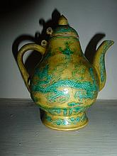 Rare Chinese Yellow & Green Tea Pot With Dragon