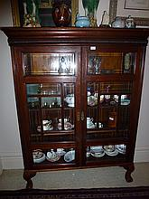 Edwardian Walnut Display Cabinet Height 153cm