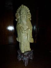 Chinese Soap Stone Figure On Stand