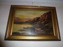 Antique Oil Painting In original Frame Cattle And