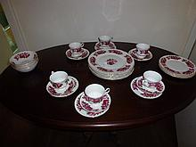 Queen Anne Margaret Rose Pattern Part Dinner & Tea