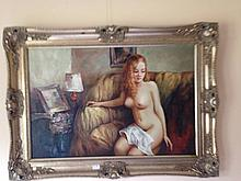 Framed oil on canvas, Nude Model, bears the