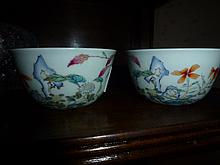 Pair Of Chinese Porcelain Famille Rose Bowls