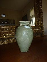 Chinese Pottery Vase Decorated With Flowers Height