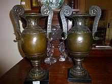 Pair Double handled Bronze Urn Vases