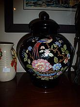 Victorian Glass lidded Urn Hand Painted With