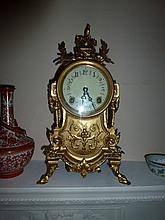 French Style Gilt Metal Mantel Clock 39cm In