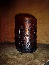 Chinese Amber Colour Brush Pot Decorated With