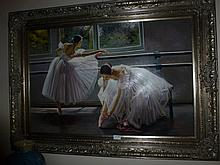 Framed oil on canvas, Ballerinas, bears the