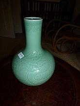 Chinese Green Porcelain Vase Decorated Dragons