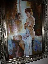 Framed oil on canvas, Nude, bears the signature L.
