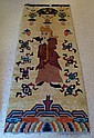 Hand Made Chinese Rug Decorated With Wise Man &