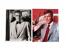 James Bond Sean Connery & Roger Moore Signed Photos