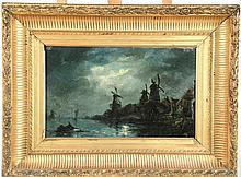 JONGKIND 'Marine nocturne aux moulins'. Huile sur toile, signée en bas à droite.