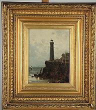 Gustave MASCARD 'Le phare'. Huile sur toile, signée en bas à gauche.