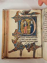 Exceptionnel psautier manuscrit latin XIIIe, 12 petites miniatures au calendrier et 14 lettrines historiées, avec drôleries marginales, et lettres filigranées à chaque pages (340 fol.