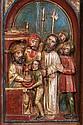Prédelle d'autel en noyer sculpté en profond