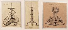 3 Dessins originaux à la mine de plomb destiné à la gravure pour l'impression, Pique cierges XII, XIIIe dont modèle de l