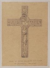 Dessin original à la mine de plomb destiné à la gravure pour l'impression, Croix de cuivre, Bordeaux XIIe
