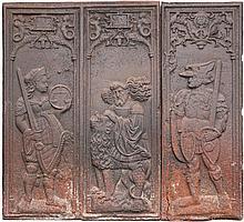 Plaque de cheminée en fonte de fer composée de deux éléments. 1/une allégorie de la justice, de la force 2/un soldat en