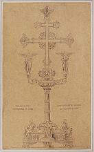 Dessin original à la mine de plomb destiné à la gravure pour l'impression, Reliquaire de la cathédrale de Sens, composit
