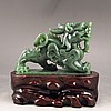 Hand Carved Chinese Natural Green Hetian Jade Statue - Chi Dragon