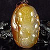 Hand Carved Chinese Natural Agate Pendant - Fortune Kid