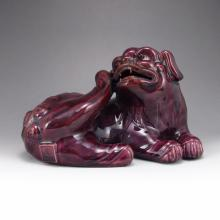 Hand-painted Chinese QieZi Glaze Porcelain Statue - Pi Xiu Dragon