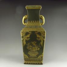 Superb Chinese Gold Plated Tea Dust Glaze Elephant Head Double Ears Porcelain Big Vase w Qianlong Mark
