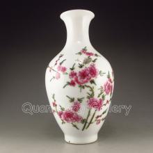 Hand-painted Chinese Famille Rose Porcelain Vase Plum Blossom & Yong Zheng Mark