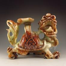 Chinese Hand Carved Natural Jade Statue - Dragon Head Turtle