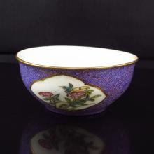 Hand-painted Gilt Edge Chinese Purple Ground Famille Rose Porcelain Bowl w Qianlong Mark