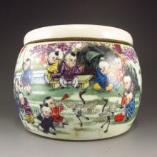 Hand Drew Chinese Famille Rose Porcelain Tea Caddy w Tongzhi Mark