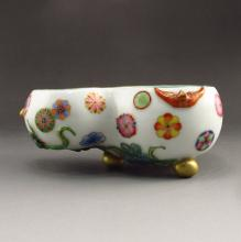 Chinese Famille Rose Gilt Edges Porcelain Gourd Brush Washer w Yongzheng Mark