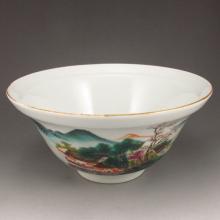 Gilt Edge Chinese Famille Rose Porcelain Bowl