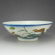 Fine Hand Drew Chinese Famille Rose Porcelain Bowl w Flower Bird & Mark