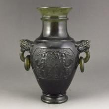 Hand-carved Chinese Natural Jade Double Ring Beast Head Vase