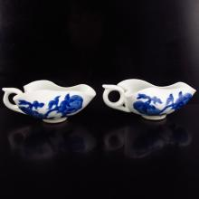 A Pair Chinese Blue And White Porcelain Cups