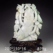 Superb Hand Carved Natural Jadeite / Jade Statue - Ruyi Bird & Luffa