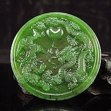 Hand Carved Chinese Natural Green Hetian Jade Pendant w Dragon & Phoenix