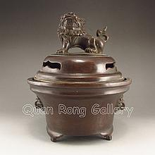 Chinese Bronze Incense Burner w Xuan De Mark & Lion