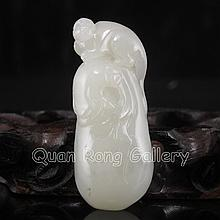 Hand-carved Chinese Natural Hetian Jade Pendant - Monkey