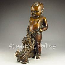 Chinese Bronze Statue - Fortune Kid & Foo Dog