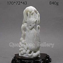 Hand Carved Chinese Natural Hetian Jade Statue - Corn & Peanut