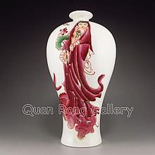Hand-painted Chinese Rouge Glaze Porcelain Vase w Yong Zheng Mark
