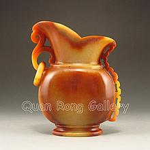 Beautiful Color Hand-carved Chinese Natural Jade Single Ring Vase