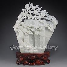 Chinese Hand Carved Natural Hetian Jade Statue - Magpie & Plum Flowers