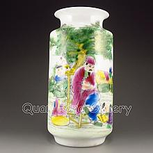 Hand-painted Chinese Famille Rose Porcelain Bottle w Ju Ren Tang Mark