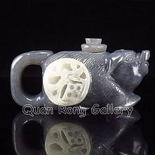 Hand-carved Chinese Natural Hetian Jade Teapot - Fortune Pig